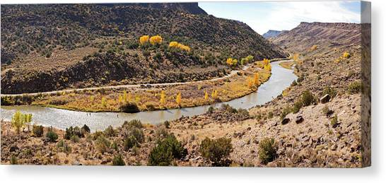 Rio Grande River Canvas Print - Elevated View Of Three Men Fishing by Panoramic Images