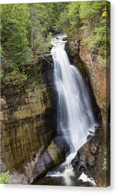 Alger Waterfalls Canvas Print - Elevated View Of Waterfall, Miners by Panoramic Images