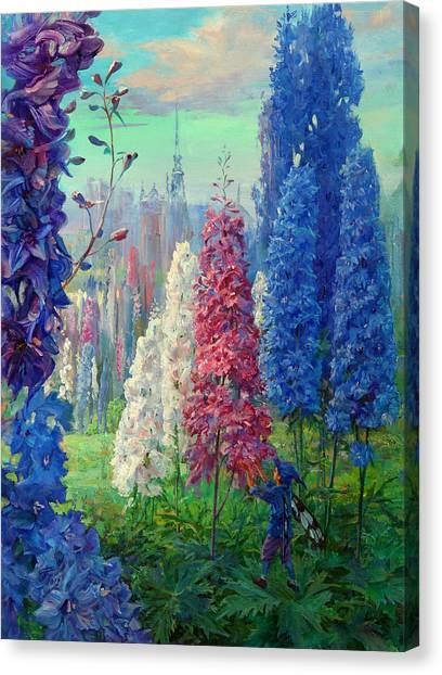 Elf And Fantastic Flowers Canvas Print