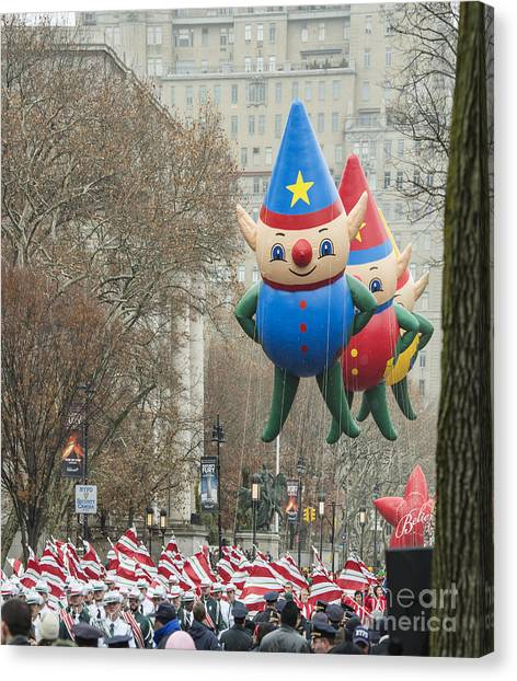 Macys Parade Canvas Print - Elf Balloons At Macy's Thanksgiving Day Parade by David Oppenheimer