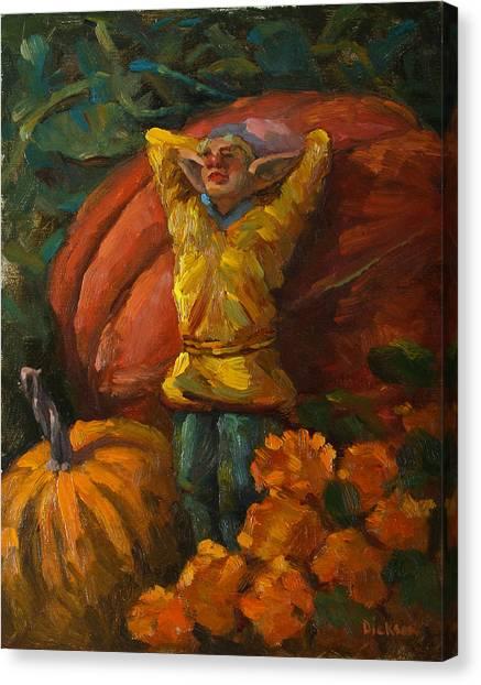 Elf In The Pumpkin Patch Canvas Print