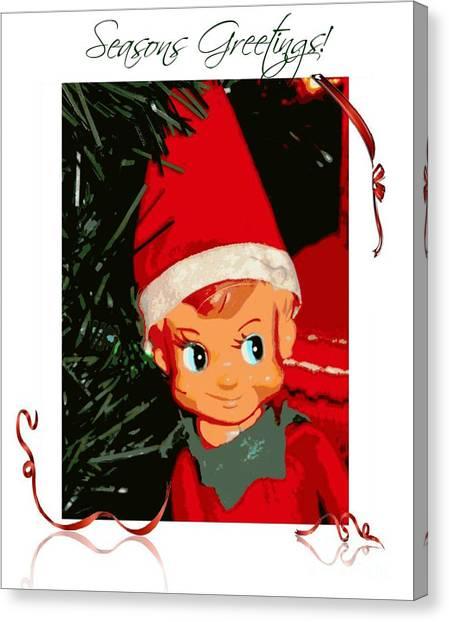 Elf On The Shelf Season's Greetings Canvas Print