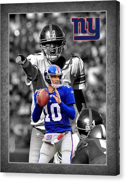 New York Giants Canvas Print - Eli Manning Giants by Joe Hamilton
