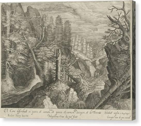 Raven Canvas Print - Elia Fed By A Raven by Crispijn Van De Passe (i)