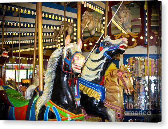 Casino Pier Canvas Print - Elizabeth And Friends- Carousel Ponies by Colleen Kammerer