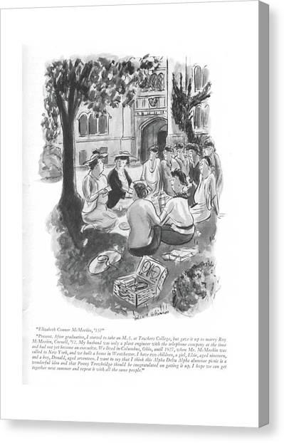 Sorority Canvas Print - Elizabeth Conner Mcmeekin by Helen E. Hokinson