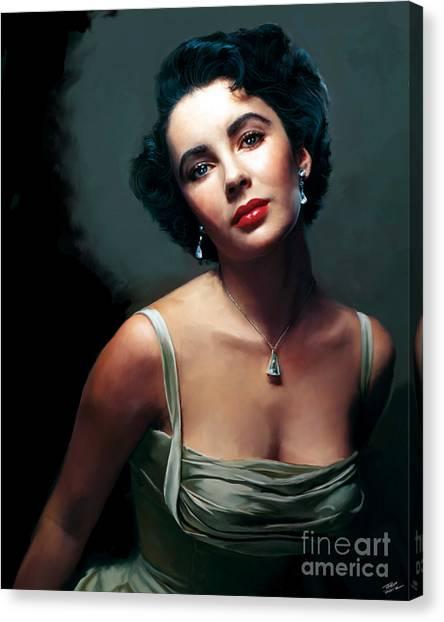 Elizabeth Taylor Canvas Print - Elizabeth Taylor by Paul Tagliamonte