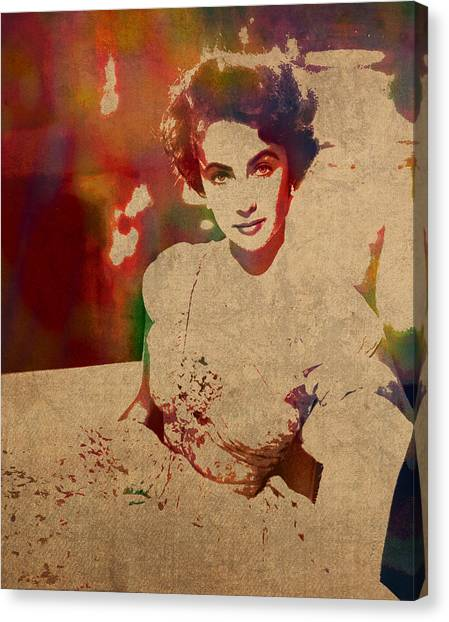 Elizabeth Taylor Canvas Print - Elizabeth Taylor Watercolor Portrait On Worn Distressed Canvas by Design Turnpike