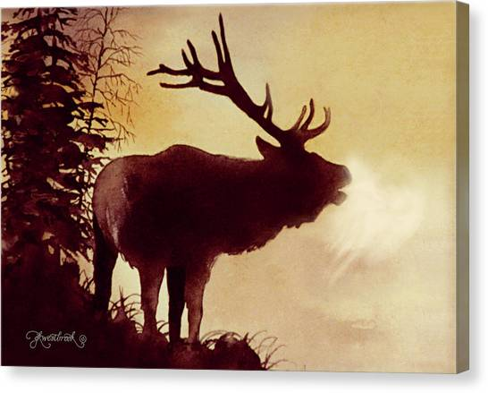 Canvas Print featuring the painting Elk Bugle by Jill Westbrook