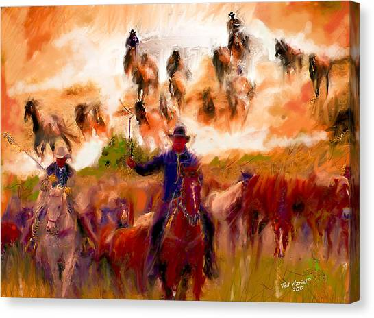 Elk Horse Round Up Canvas Print