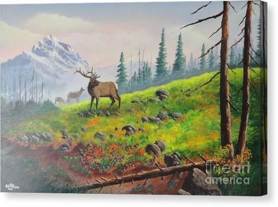 Elk In The Mist Canvas Print