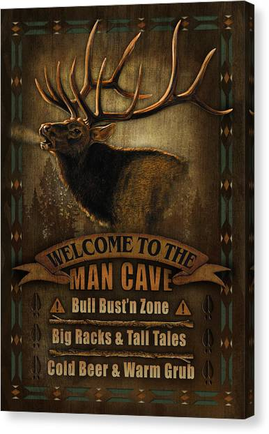 Liquor Canvas Print - Elk Man Cave Sign by JQ Licensing