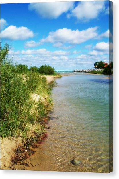 Elk River With Fluffy Clouds Canvas Print