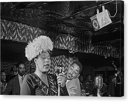 Ella Fitzgerald And Dizzy Gillespie William Gottleib Photo Unknown Location September 1947-2014. Canvas Print