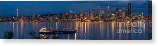 Seattle Skyline Canvas Print - Elliott Bay Seattle Skyline Night Reflections  by Mike Reid