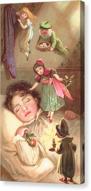 Mistletoe Canvas Print - Elves Delivering Christmas Gifts by English School
