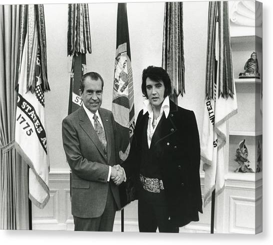 White House Canvas Print - Elvis And Nixon by Unknown