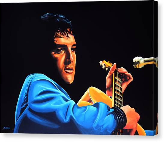 Rhythm And Blues Canvas Print - Elvis Presley 2 Painting by Paul Meijering