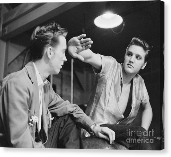 Scotty Canvas Print - Elvis Presley And Cousin Gene Smith Cropped Image by The Harrington Collection