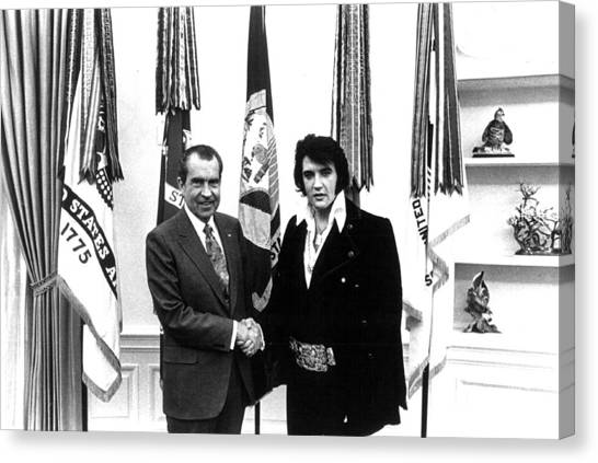 Elvis Canvas Print - Elvis Presley And President Nixon by Retro Images Archive