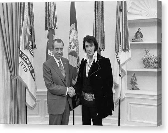 Elvis Presley And Richard Nixon-featured In Men At Work Group Canvas Print