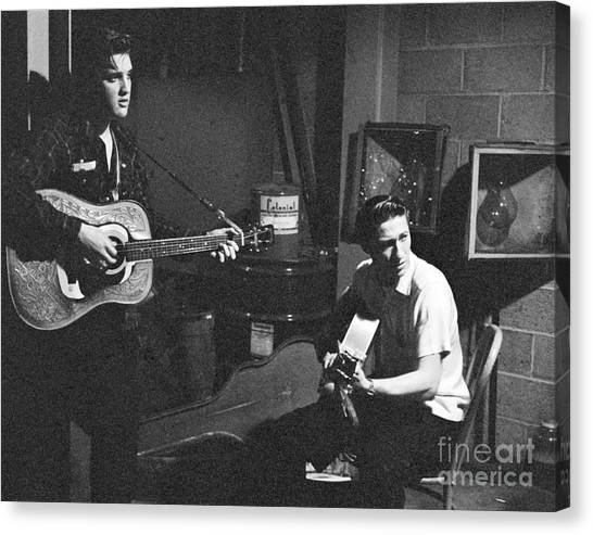 Elvis Canvas Print - Elvis Presley And Scotty Moore 1956 by The Harrington Collection