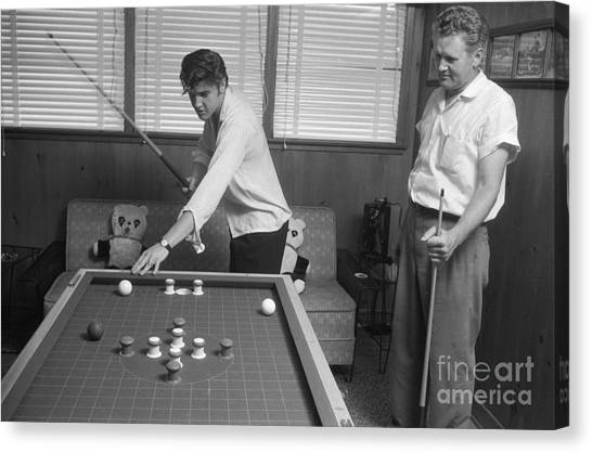 Elvis Canvas Print - Elvis Presley And Vernon Playing Bumper Pool 1956 by The Harrington Collection