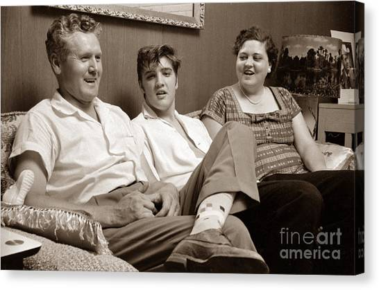 Elvis Canvas Print - Elvis Presley At Home With Vernon And Gladys Sepia Print by The Harrington Collection