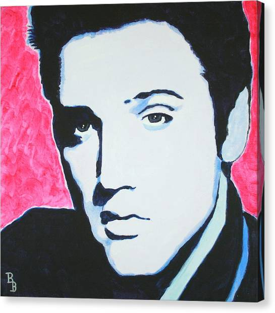 Elvis Presley - Crimson Pop Art Canvas Print
