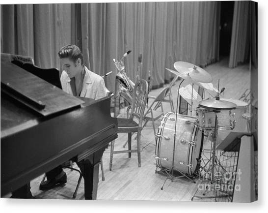 Stringed Instruments Canvas Print - Elvis Presley On Piano Waiting For A Show To Start 1956 by The Harrington Collection