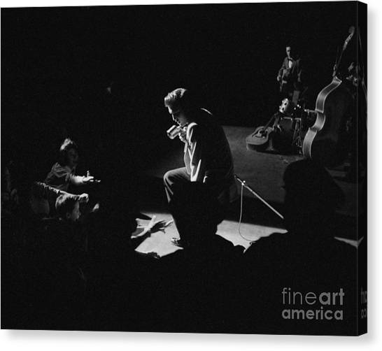 Scotty Canvas Print - Elvis Presley On Stage At The Fox Theater In Detroit 1956 by The Harrington Collection