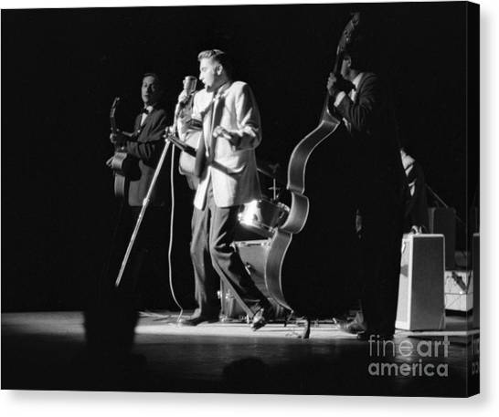 Scotty Canvas Print - Elvis Presley On Stage With Scotty Moore And Bill Black 1956 by The Harrington Collection
