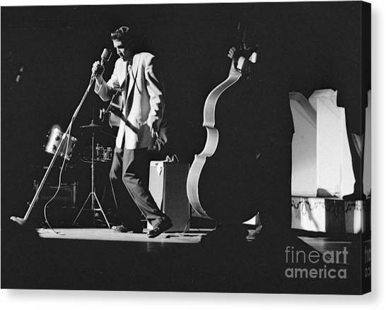Elvis Canvas Print - Elvis Presley Performing At The Fox Theater 1956 by The Harrington Collection
