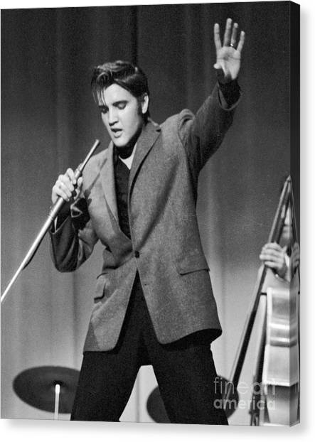 Elvis Canvas Print - Elvis Presley Performing In 1956 by The Harrington Collection