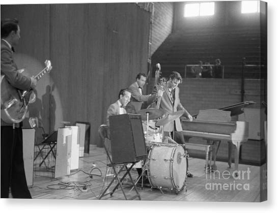 Scotty Canvas Print - Elvis Presley Scotty Moore D.j. Fontana And Bill Black 1956 by The Harrington Collection