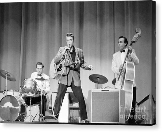 Elvis Canvas Print - Elvis Presley With D.j. Fontana And Bill Black 1956 by The Harrington Collection