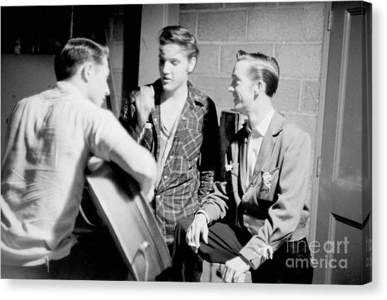 Scotty Canvas Print - Elvis Presley With Gene Smith And Scotty Moore 1956 by The Harrington Collection
