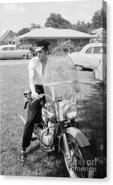 Elvis Canvas Print - Elvis Presley With His 1956 Harley Kh And His Cadillacs by The Harrington Collection