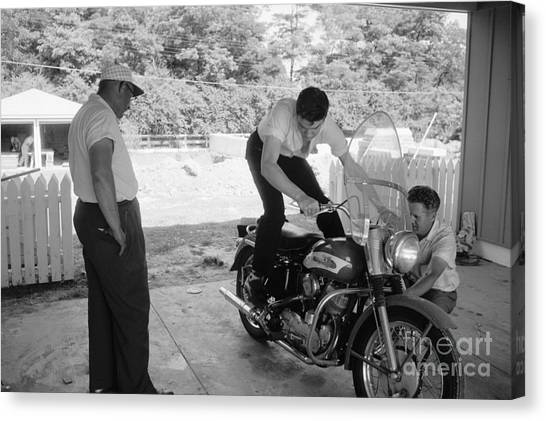 Elvis Canvas Print - Elvis Presley With His Harley Kh And His Father Vernon by The Harrington Collection