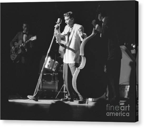 Scotty Canvas Print - Elvis Presley With Scotty Moore And Bill Black 1956 by The Harrington Collection