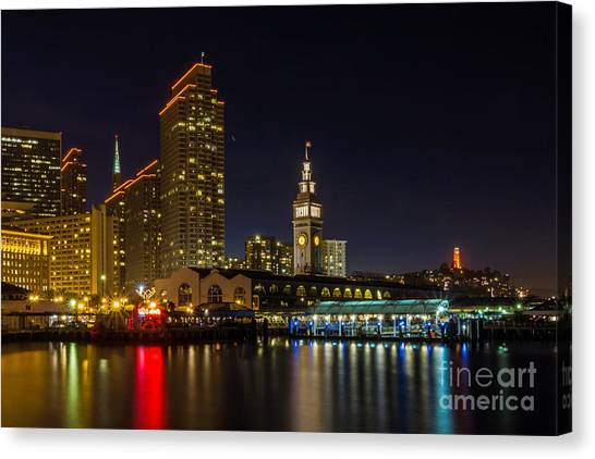 Canvas Print featuring the photograph Embarcadero Blue Hour by Kate Brown