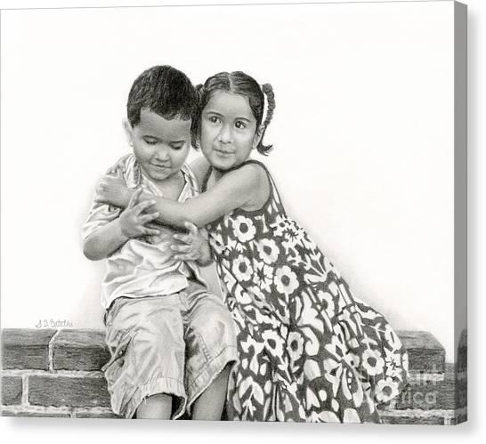 Boy And Girl Canvas Print - Embracing Friendship by Sarah Batalka