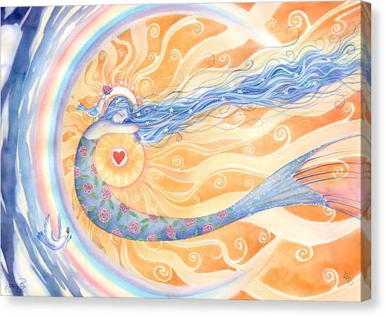 Celestial Canvas Print - Embracing Love by Sara Burrier