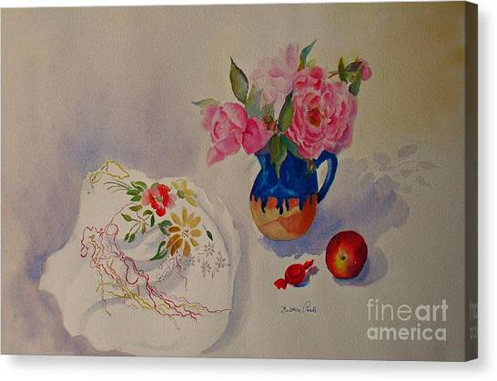 Embroidery And Roses Canvas Print
