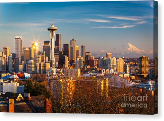 Mountain Sunsets Canvas Print - Emerald City Sunset by Inge Johnsson