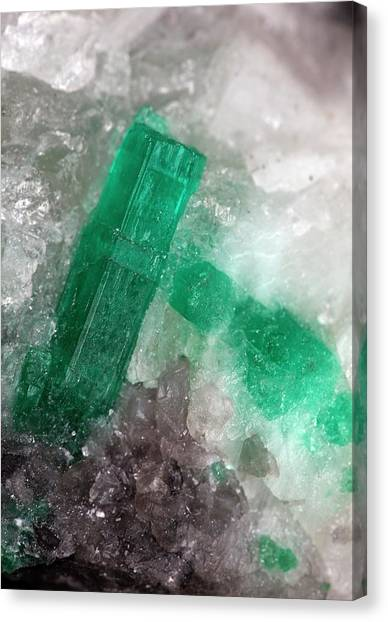 Colombian Canvas Print - Emerald In Quartz I by Dirk Wiersma