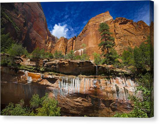 Emerald Pools Falls Zion Park Canvas Print