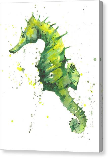 Ocean Life Canvas Print - Emerald Seahorse by Alison Fennell