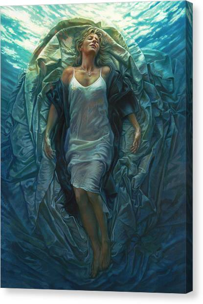 Water Canvas Print - Emerge Painting by Mia Tavonatti