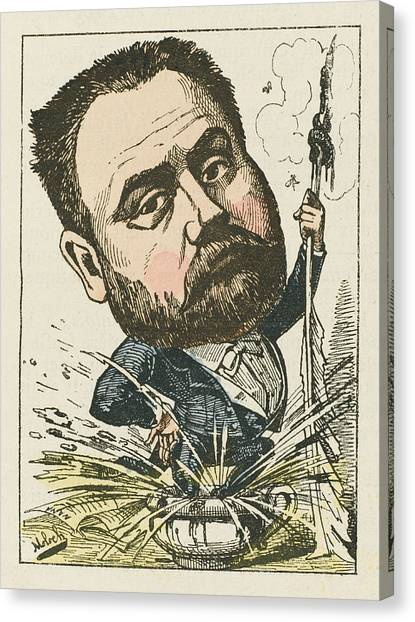 Chamber Pot Canvas Print - Emile Zola  French Novelist A Satirical by Mary Evans Picture Library
